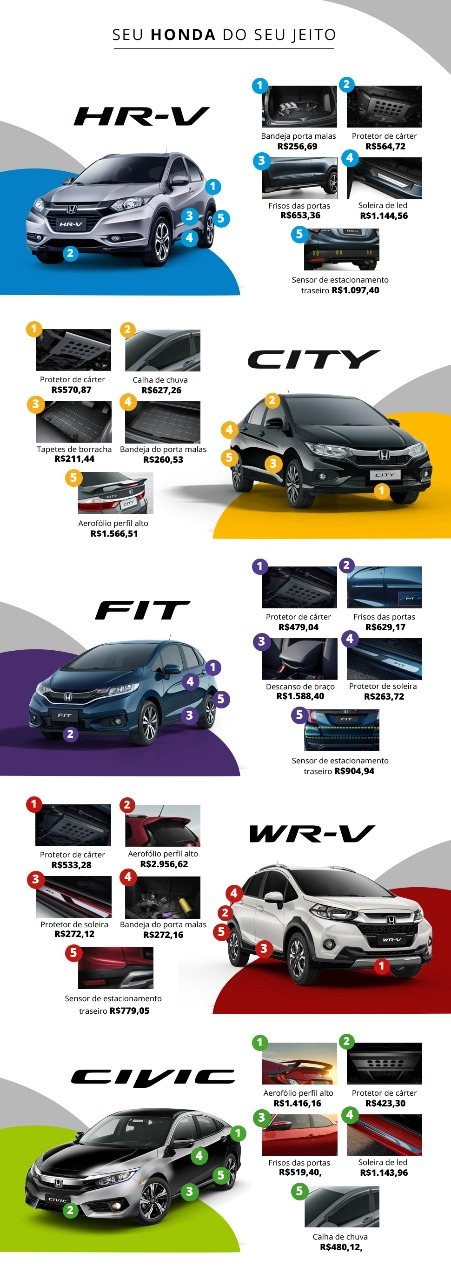 acessórios Honda disponíveis na Niponsul - Curitiba/PR: